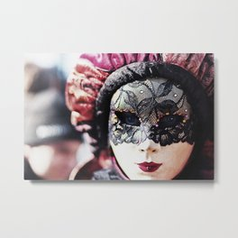 Carnival of Venice - Girl in Mask Metal Print
