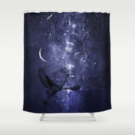 Starry Night and Moon #4 Shower Curtain