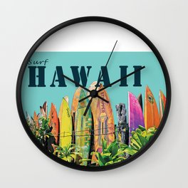 Hawaiian Surfboard Postcard Print Wall Clock