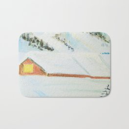winter. house with tree Bath Mat