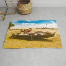 Boats at Sand at Beach of Jericoacoara Brazil Rug