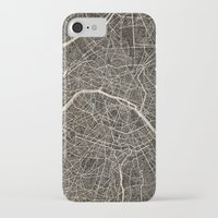 paris map iPhone & iPod Cases featuring Paris map by NJ-Illustrations