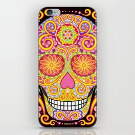Day of the Dead Sugar Skull (Psychedelia) iPhone Skin