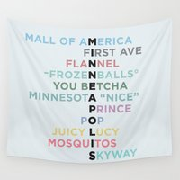 minneapolis Wall Tapestries featuring The Words of Minneapolis by tinyconglomerate