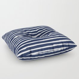 Navy Blue Stripes on White II Floor Pillow