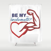 nutella Shower Curtains featuring Be Mine? by Free Specie
