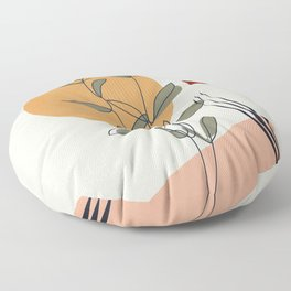Minimal Line Young Leaves Floor Pillow