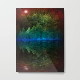 Pine Trees Reflected in the Water Metal Print