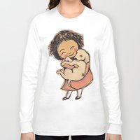 puppies Long Sleeve T-shirts featuring I Love Puppies by Katie O'Hagan