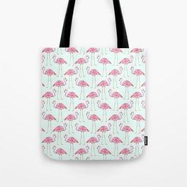 Flamingo - mint green background Tote Bag