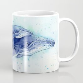 Humpback Whale Watercolor Mom and Baby Painting Whales Sea Creatures Coffee Mug