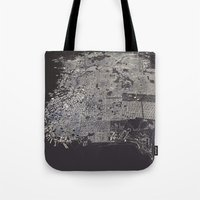 san francisco map Tote Bags featuring San Francisco City Map by maptastix