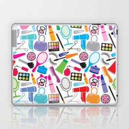 make up collection background (seamless pattern, beauty and makeup design) Laptop & iPad Skin