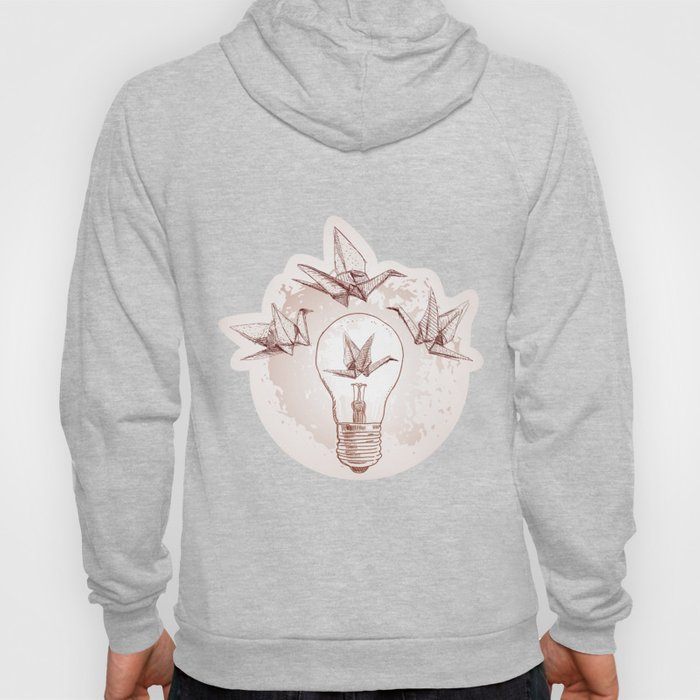 Origami paper cranes and light Hoody