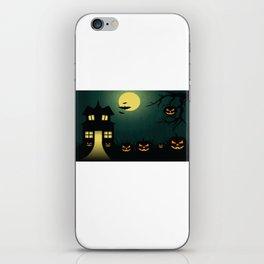 Happy Halloween Scary Pumpkin & Haunted House iPhone Skin