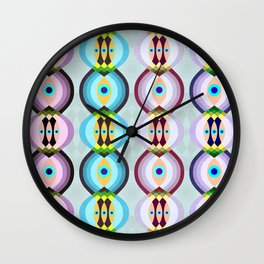 Peacock Tail Inspired Pattern Wall Clock