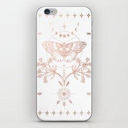 Magical Moth In Rose Gold iPhone Skin