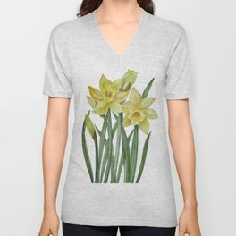 Watercolor Daffodils Botanical Illustration Unisex V-Neck
