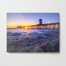 A Sudsy Sunset Huntington Beach, California Metal Print