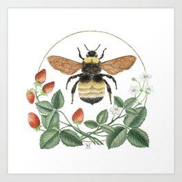 Bombus & Strawberries Art Print