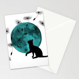 Turquoise Moon black Cat dandelions Stationery Cards