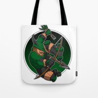 robin hood Tote Bags featuring Robin Hood Roller Derby logo by Andrew Mark Hunter