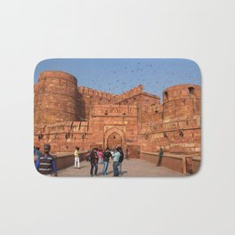 Agra Fort entrance with visitors and pigeons, India Bath Mat