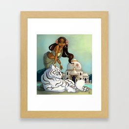 Indian and white tiger Framed Art Print