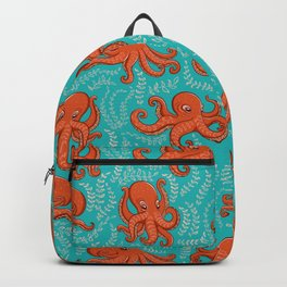 Fun orange octopus on turquoise background. Backpack
