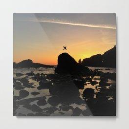 Sea Stack Jumping at La Push Metal Print