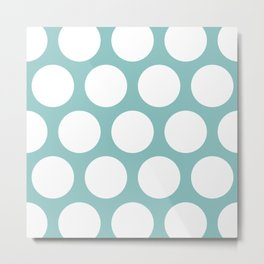 Chalky Blue Large Polka Dots Metal Print