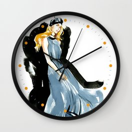 fashion #40: girl in black beret and gray pleated dress Wall Clock