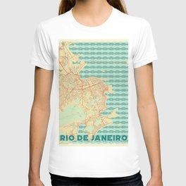 Rio de Janerio Map Retro T-shirt