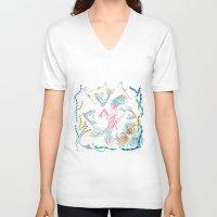 mermaid V-neck T-shirts featuring Mermaid by famenxt