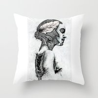 black swan Throw Pillows featuring Swan by JsR_OtR