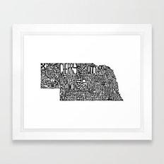 Typographic Nebraska Framed Art Print