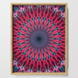 Pretty mandala in vivid red and blue tones Serving Tray