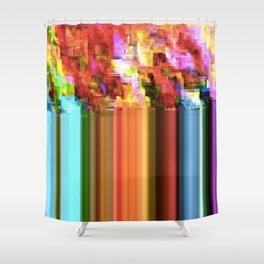 Rainbow Glitch Shower Curtain