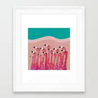 flamingos Framed Art Prints featuring Flamingos by Claudia Voglhuber