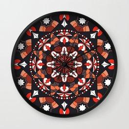 Mandala with autumn colors Wall Clock
