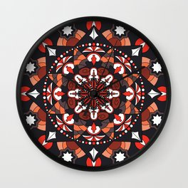 Mandala with autumn colors Wall Clock