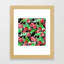 Ripe cherry . Abstract red black berry pattern . Framed Art Print