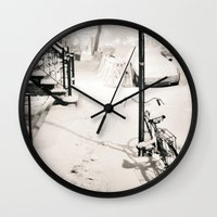 new york city Wall Clocks featuring New York City by Vivienne Gucwa