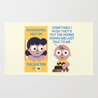 peanuts Area & Throw Rugs featuring Muted Affection by David Olenick