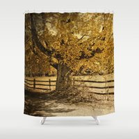 kerouac Shower Curtains featuring Autumn Leaves by Elke Meister