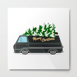 Vintage green car with Christmas tree. Christmas picture. Green truck vector illustration. Metal Print