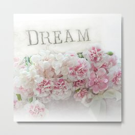Dreamy Pink Roses Floral Print - Romantic Shabby Chic Dream Floral Home Decor Metal Print
