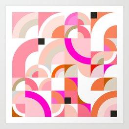 Abstract Retro Rainbow pattern - Pink and blush Art Print