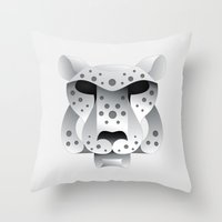 snow leopard Throw Pillows featuring Snow leopard by MyArti