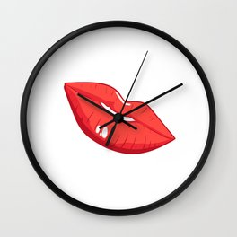 A Feminine Tee For Girls With A Nice Illustration Of A Lips T-shirt Design Mouth Teeth Lipstick Wall Clock